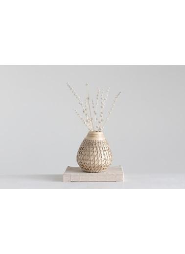 Warm Design El Dokuması Bambu Vazo Bej